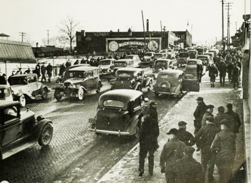 1937: Workers Leaving Flint Chevy Plant #4 After Winning Union Recognition