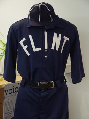 Replica of vintage Flint-area base ball club uniform