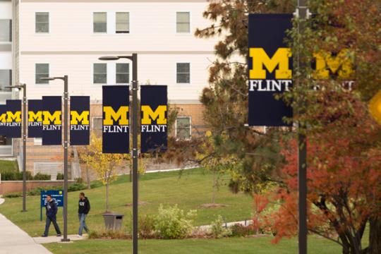 UM-Flint banners along Kearsley Street