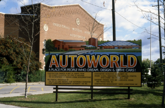 "Sign announces plan to transform Flint's IMA Auditorium location into ""AutoWorld"""