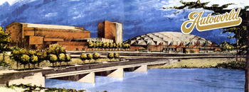 Artist rendering of AutoWorld along Flint River