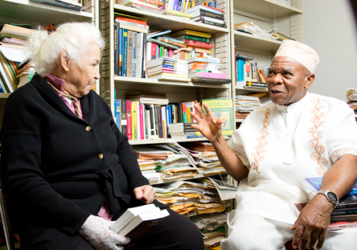 Egyptian author Nawal El Saadawi and Ernest Emenyonu at the University of Michigan-Flint