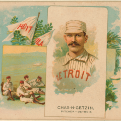 1880s-era promotion for the Detroit, Wolverines baseball club.