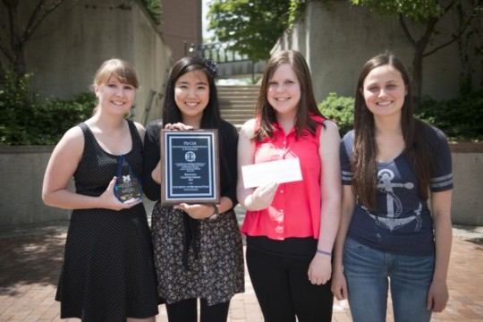 UM-Flint Psi Chi members Becca Horning, Amber Mach, Sam Turner, and Sarah Dyszlewski.