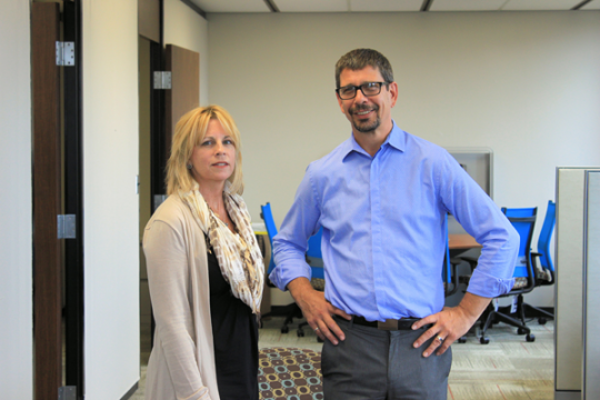 Sherryl McLaughlin and Bob Barnett in the new Center for Education Preparation