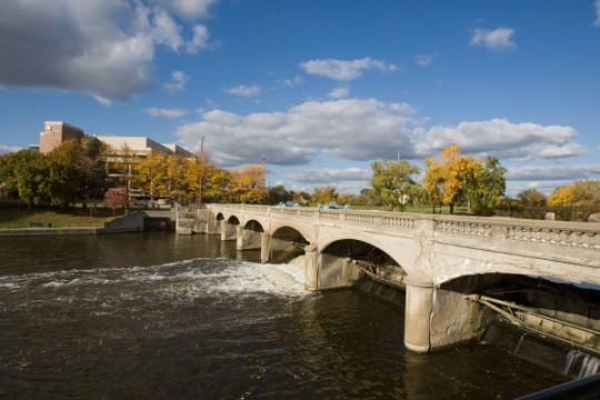 Flint River's Hamilton Dam, on the UM-Flint Campus