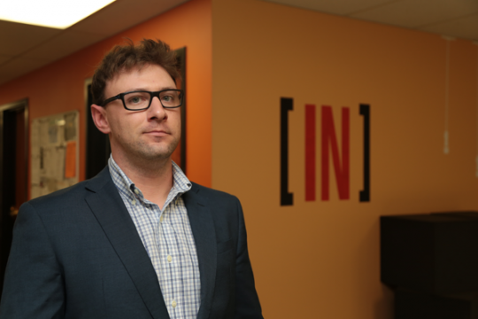 UM-Flint mechanical engineering student Vince Odine uses [IN] office space.