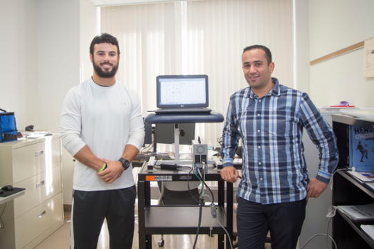 UM-Flint DPT student Mitch Babcock and Assistant Professor of Physical Therapy Bara Alsalaheen, PhD