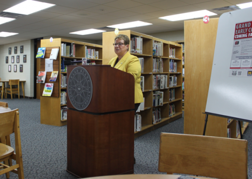 UM-Flint Chancellor Susan E. Borrego announces new Grand Blanc Early College partnership.