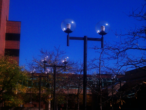 An example of the old lights being replaced with more efficient LED lights.