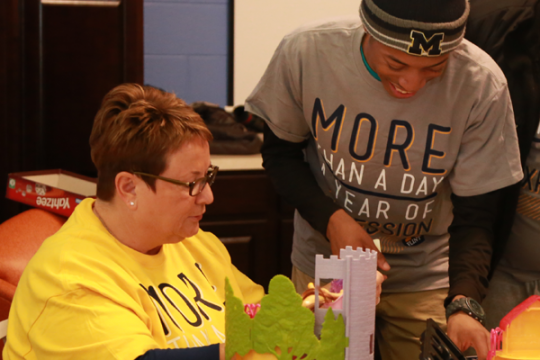 On MLK Day 2015, Chancellor Borrego worked alongside students at the Whaley Children's Center.