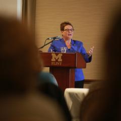 Chancellor Susan E. Borrego delivers 2015 State of the University address.