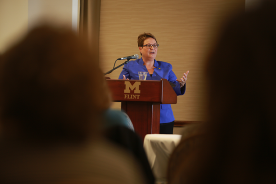 Chancellor Susan E. Borrego delivers 2015 State of the University address.