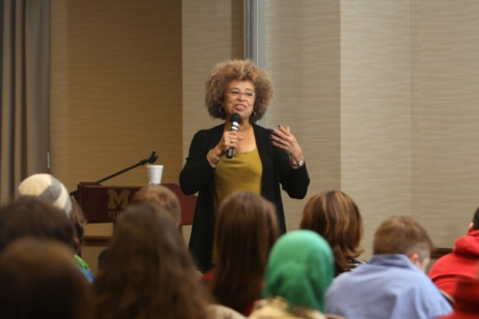Angela Davis at Q and A session with UM-Flint students