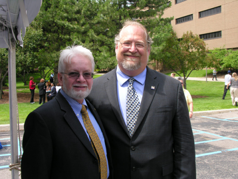 Former Chancellor Juan E. Mestas (L) and Professor Jack Kay (R) at the groundbreaking ceremony for First Street Residence Hall.
