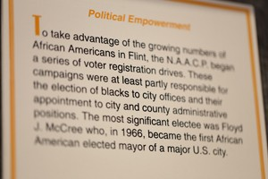 Sloan Museum display on political empowerment and Mayor McCree.