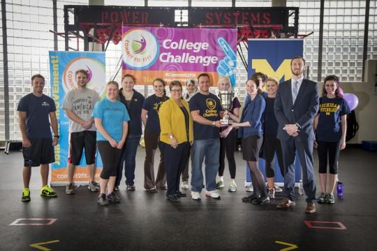 Chancellor Susan E. Borrego congratulates UM-Flint's Commit to Fit College Challenge team.
