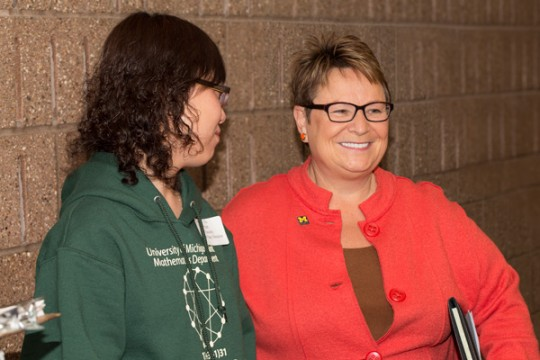 Chancellor Susan E. Borrego at UM-Flint's 48th Math Field Day.