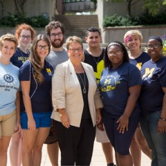 Chancellor Susan E. Borrego with First Street Residence Hall resident advisors