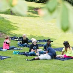 UM-Flint students relaxing in Willson Park.