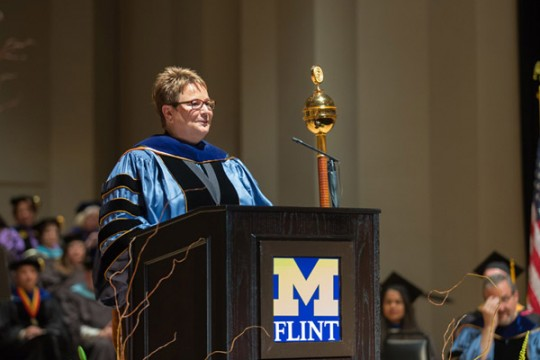 Chancellor Susan E. Borrego giving her inauguration speech.