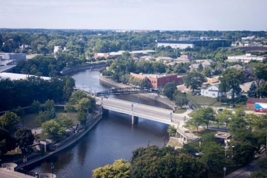 Downtown Flint, looking west down Flint River