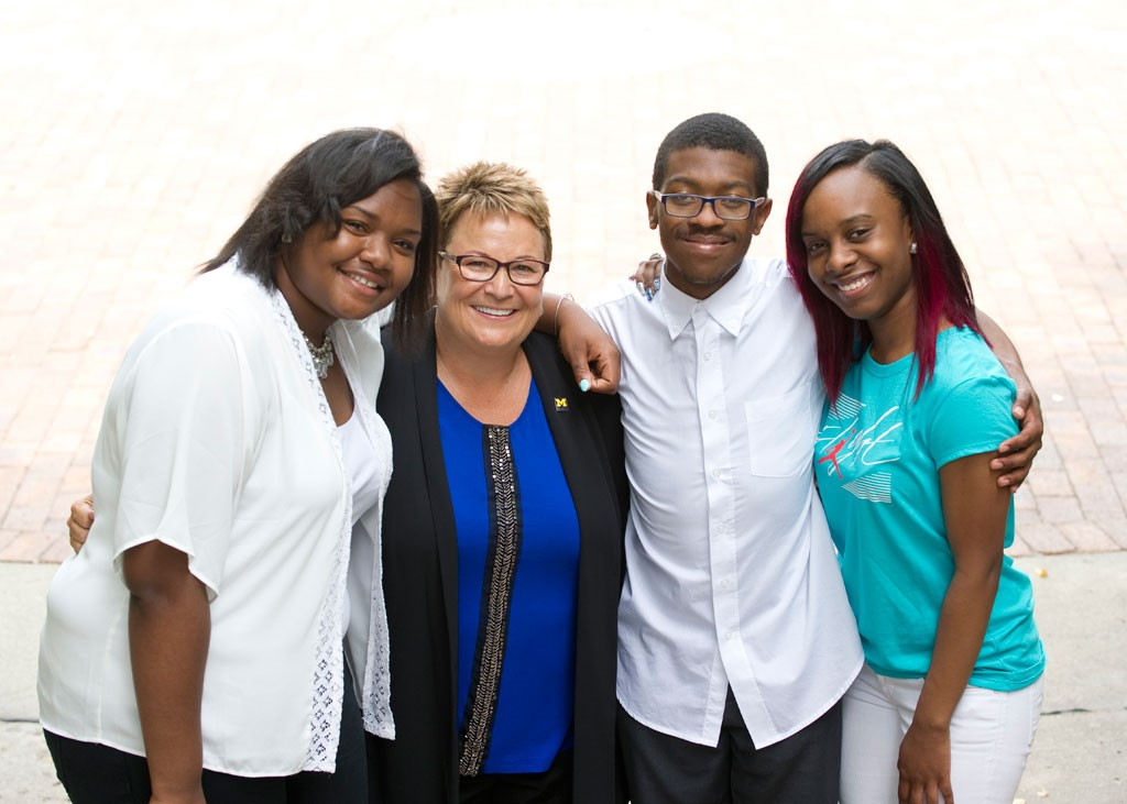 Mariah Patten, Chancellor Susan E. Borrego, Brandon Grant, and Jermarian Chandler.