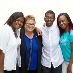 Mariah Patten, Chancellor Susan E. Borrego, Brandon Grant, and Jermarian Chandler.