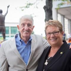 Crim founder and UM-Flint alumnus Bobby Crim and UM-Flint Chancellor Susan E. Borrego