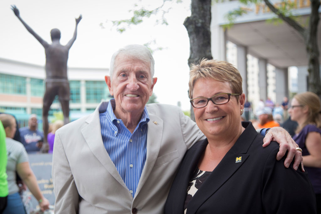 Crim founder and UM-Flint alumnus Bobby Crim and UM-Flint Chancellor Susan E. Borrego