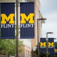 UM-Flint banners along First Street.