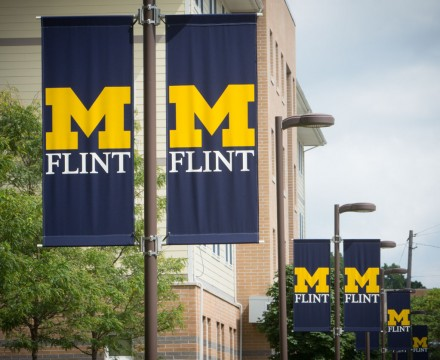UM-Flint banners along First Street.