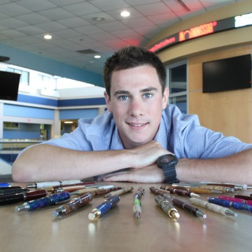 Greg Hooper and his handcrafted pens.