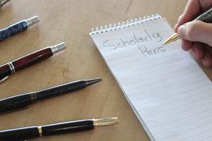 Hooper's handcrafted pen business is called Scholarly Pens.