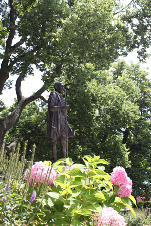 Student Government helped add lilac bushes near the statue of Gandhi.