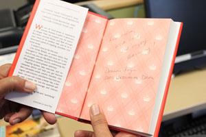 Donna Fry's book dedication.