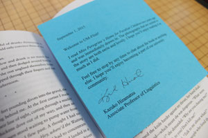 """Kazuko Hiramatsu's note included with her donated book """"Miss Peregrine's Home for Peculiar Children."""""""