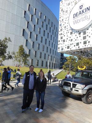John Long and Kayla Bailey at Deakin University.