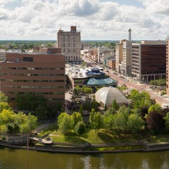 Aerial view of UM-Flint and downtown Flint