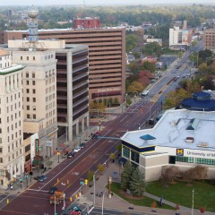 Arial view of downtown Flint looking north from Mott Foundation Building