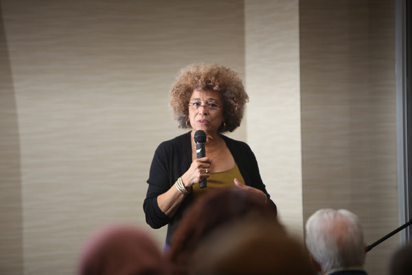 Angela Davis during last February's Q & A with campus and community.