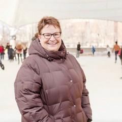Chancellor Susan E. Borrego helps reopen downtown ice rink.