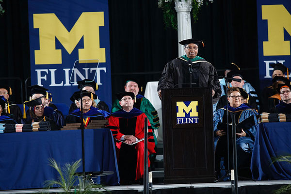 Dr. Alexa Canady encouraged graduates of the University of Michigan-Flint to form their own identity.