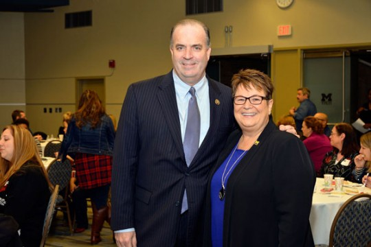 Congressman Dan Kildee and UM-Flint Chancellor Susan E. Borrego