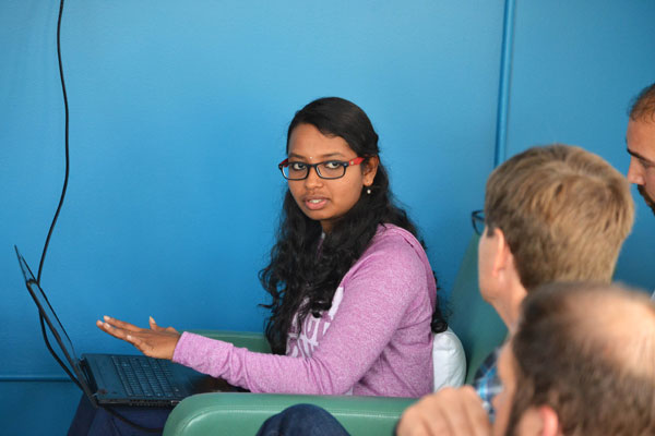 Anvitha Akurathi explains components of the intern-designed donor database.