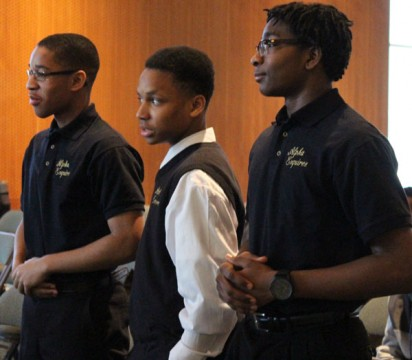 Members of the Alpha Esquires participate during the Black Male Summit.