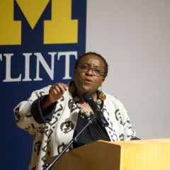 Nontombi Naomi Tutu, speaking at UM-Flint.