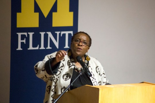 Nontombi Naomi Tutu, speaking at UM-Flint.