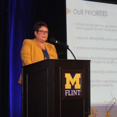 UM-Flint Chancellor Susan E. Borrego delivers 2016 State of the University.