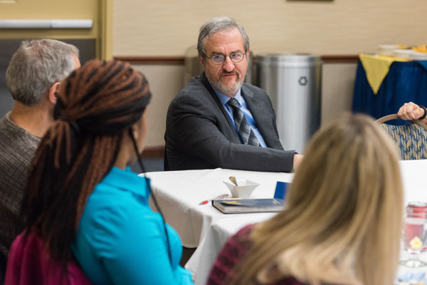 President Mark Schlissel was on the UM-Flint campus March 21, 2016 to discuss U-M's response to the Flint water crisis with students, staff, and faculty.